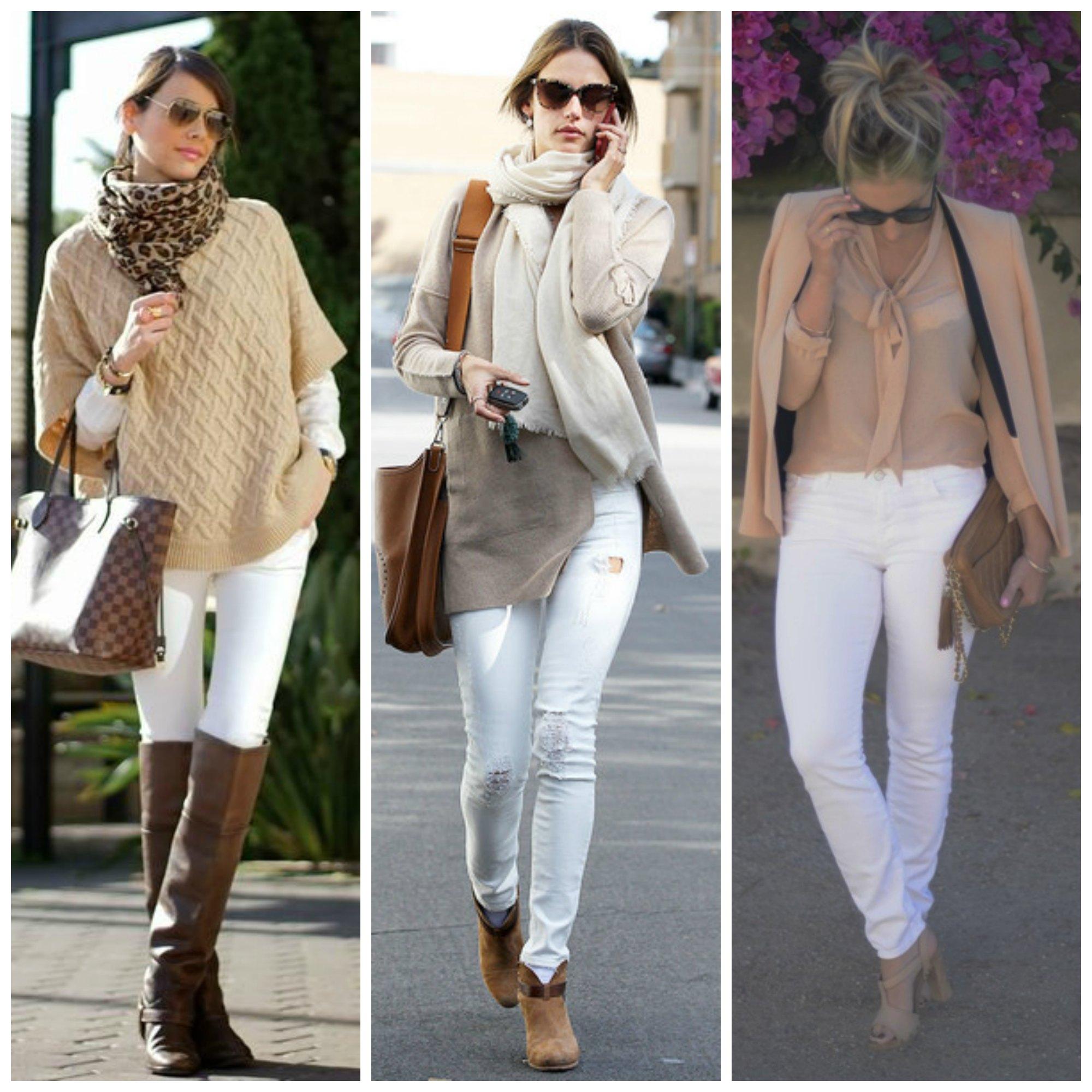 calça branca combinando com cores pasteis