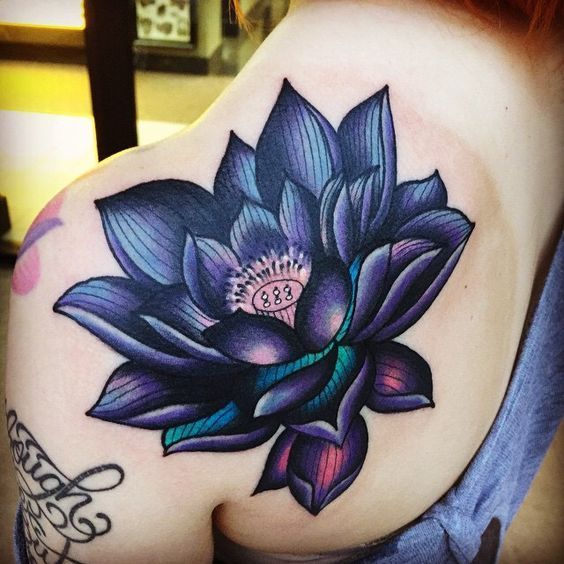 ▷▷ +557(Fotos) Tatuajes de FLORES DE LOTO【Por partes del cuerpo】