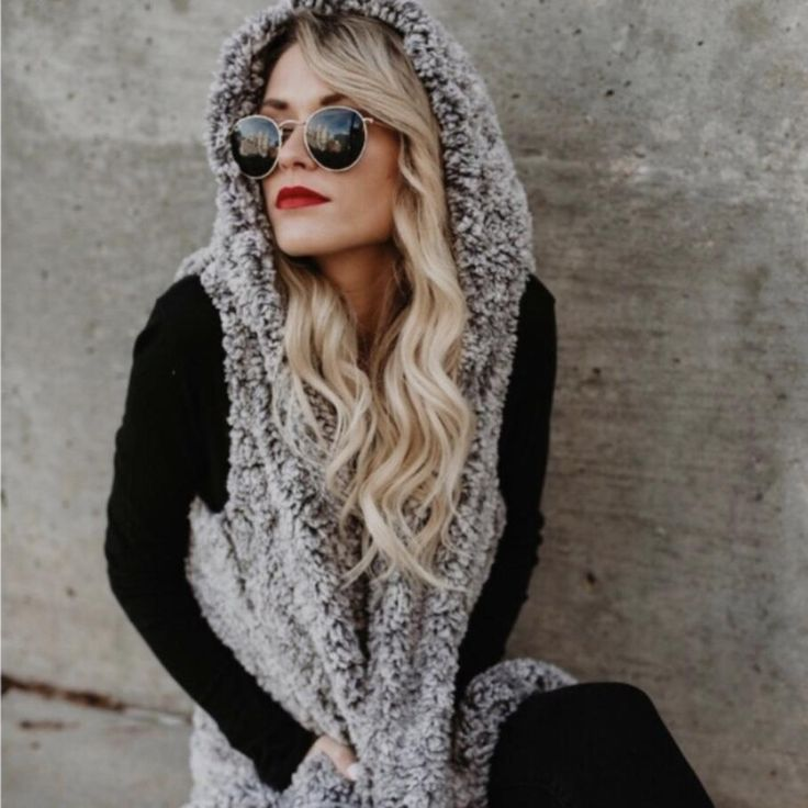 Grey Two Tone Cozy SOFT Sherpa Hooded Vest