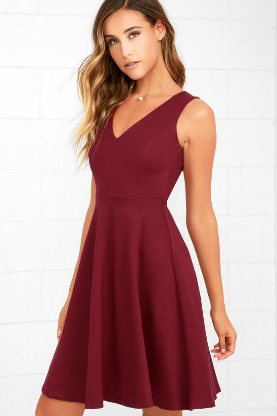Hello World Wine Red Midi Dress