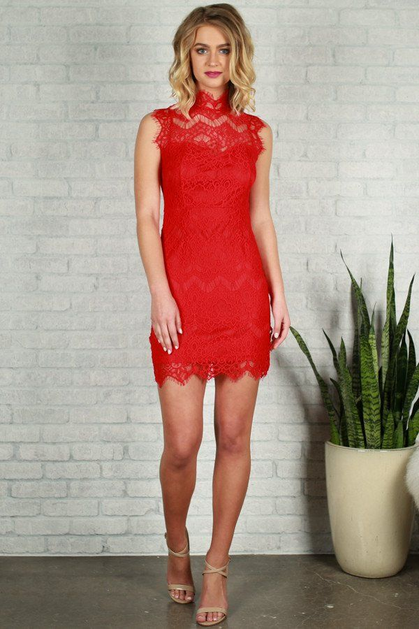 Paris After Midnight Lace Dress in Red