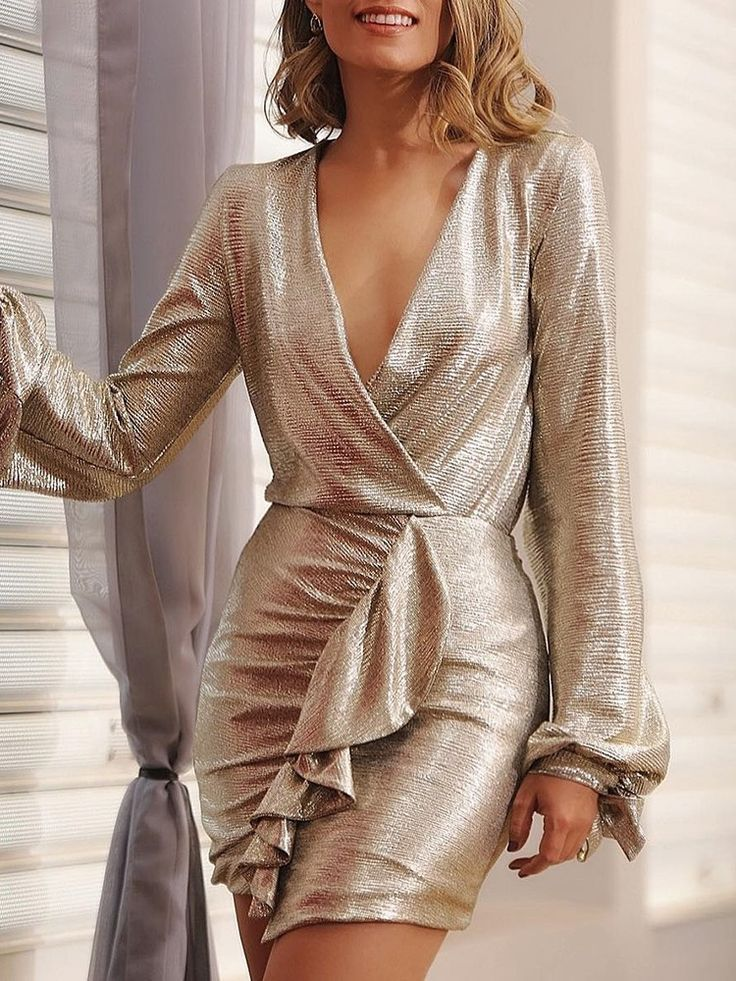 Shiny Lantern Sleeve Ruffles Trim Bodycon Dress