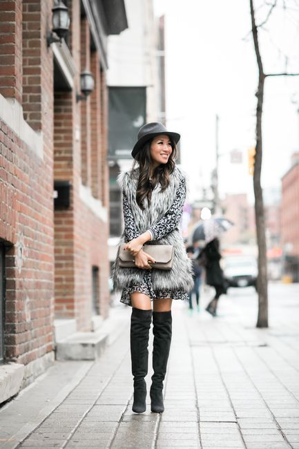 Toronto :: Tiered ruffle dress & Soft vest